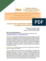 COMUNICACIÓN ORGANIZACIONAL MATRICES TEÓRICAS