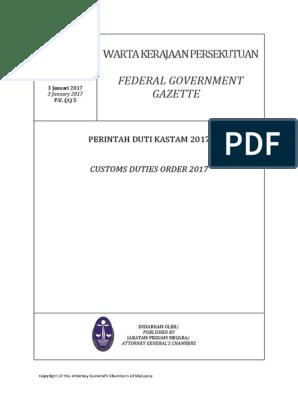 Malaysia Custom Duties Order Apr 2017 Kain Benang