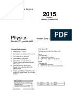 Sydney Grammar 2015 Physics Prelim Yearly & Solutions