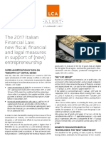 The 2017 Italian Financial Law New Fiscal Financial and Legal Measures in Support of New Entrepreneurship