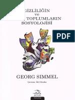 Georg Simmel Gizliliğin Ve Gizli Toplumların Sosyolojisi Pinhan Yayınları