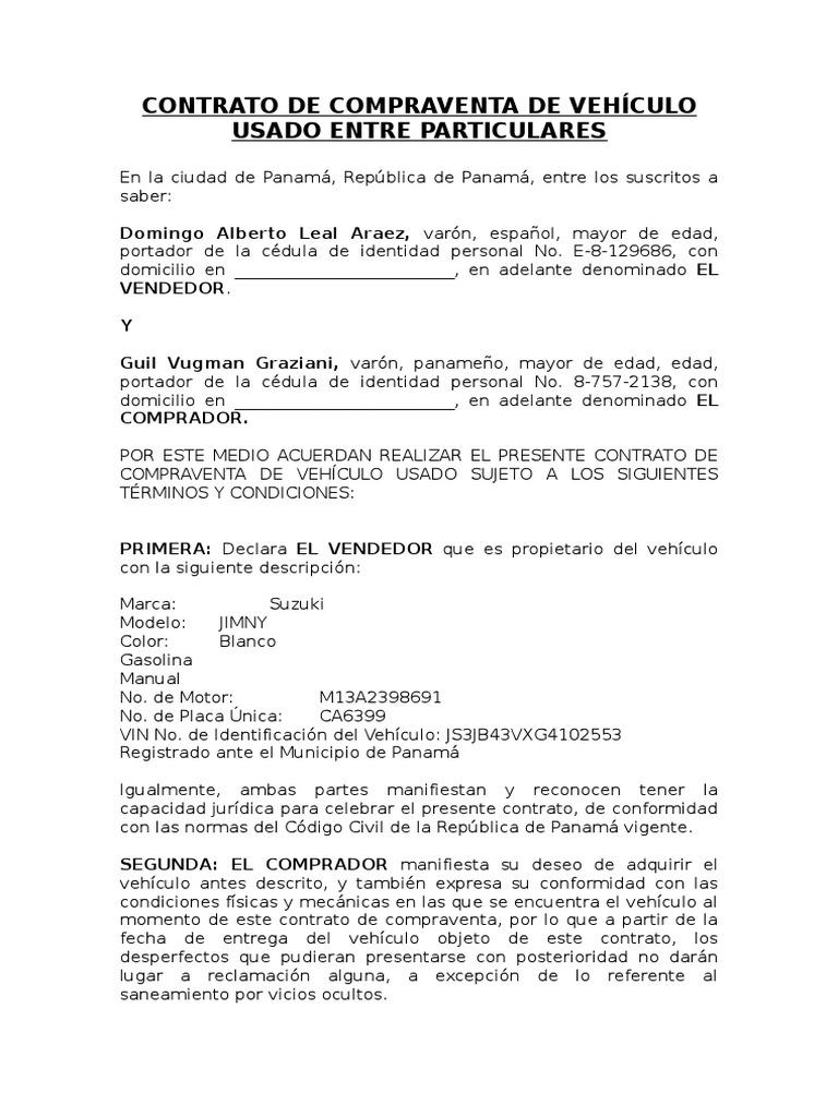Contrato De Compraventa De Vehículo Usado Entre Particulares Derecho Privado Gobierno