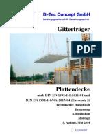 Gitterträger. Plattendecke. Nach DIN en - Und DIN en -NA- (Eurocode 2) Technisches Handbuch