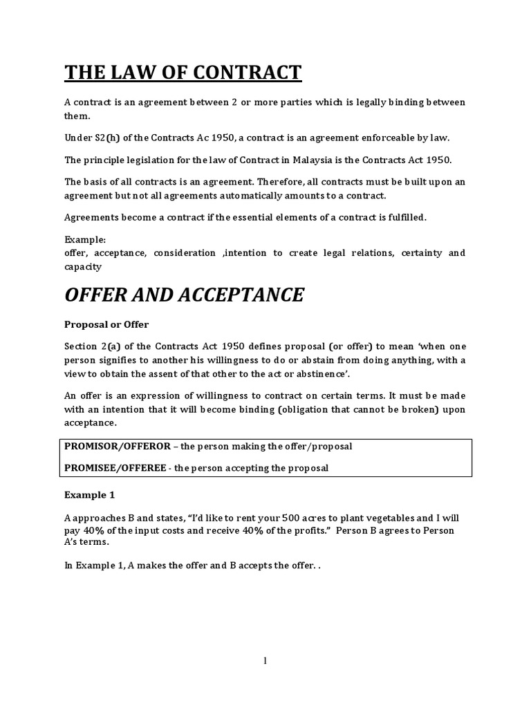 OFFER AND ACCEPTANCE(Business Law) Chapter 2.pdf | Offer And Acceptance |  Pharmacist  Acceptance Of Offer