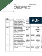 TABLA DE ESPECIFICACIONES PRUEBAS GLOBALES 2°
