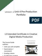 Lesson 1 Unit 4 Pre-Production Portfolio