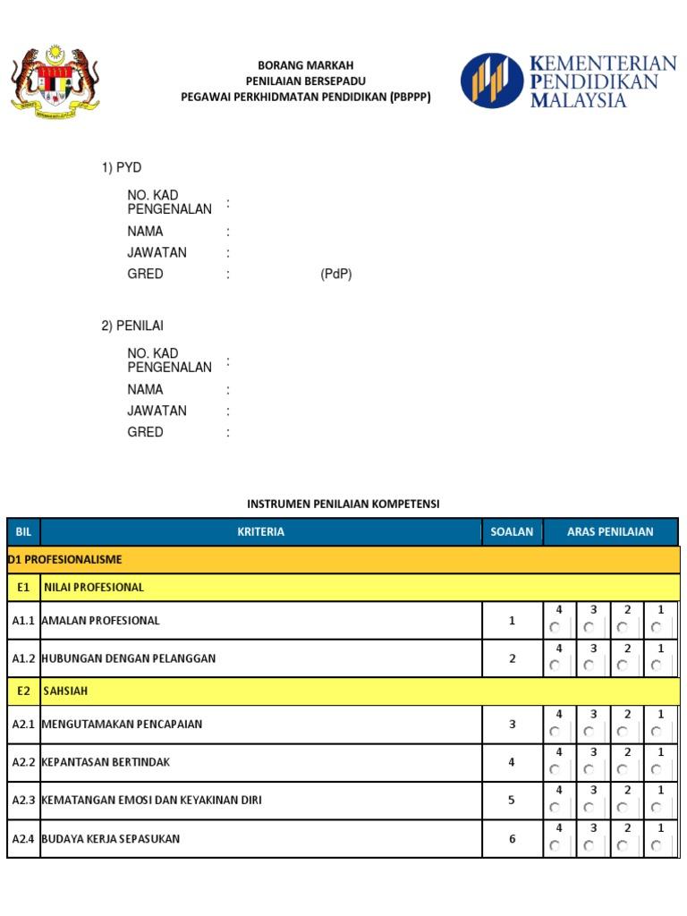 Borang Markah Penilaian Bersepadu Pegawai Perkhidmatan Pendidikan Pbppp