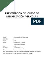 Diap. 1 Presentación Del Curso de Mecanización Agrícola i - g
