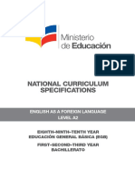 National Curriculum Specifications EFL Level A2 Agosto 2014