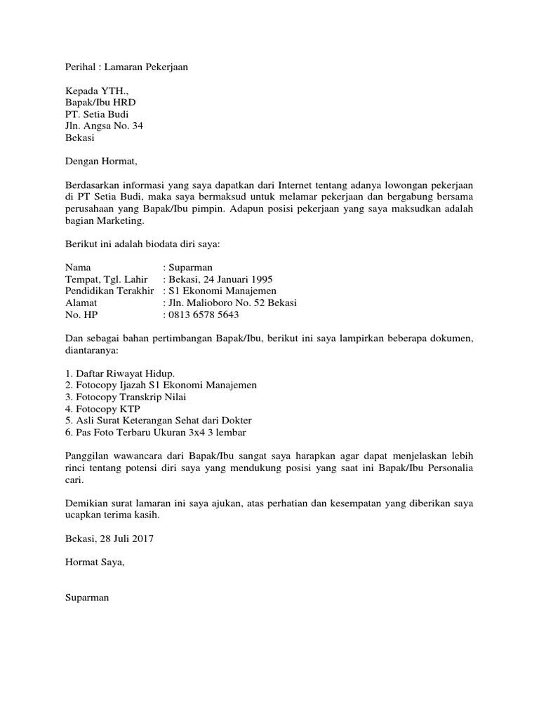 Contoh Surat Lamaran Kerja Doc 1