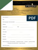 Fiche d'Inscription Concours Stimme 2e édition