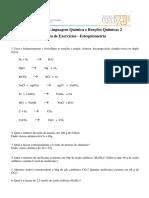 Lista Exercícios Estequiometria