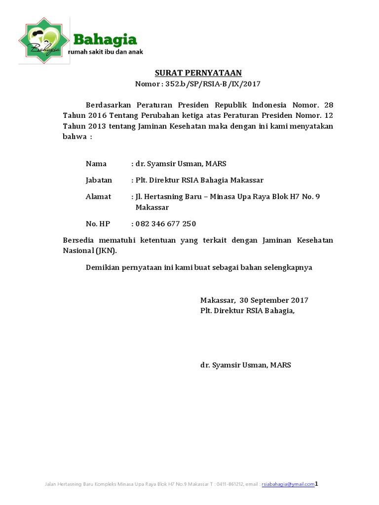 Surat Pernyataan: Jalan Hertasning Baru Kompleks Minasa ...