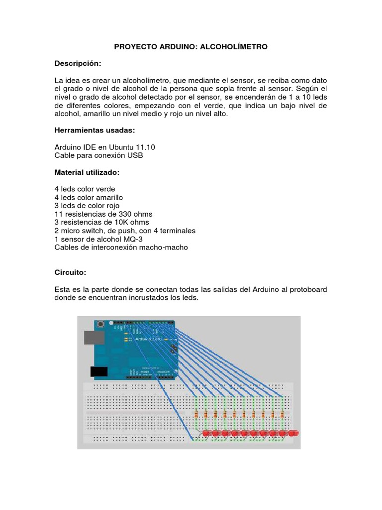 Circuito Arduino : Alcoholimetro con arduino