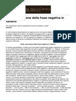 Accademia Della Crusca - Sulla Costruzione Della Frase Negativa in Italiano - 2014-06-05