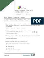 Matemática 9 2 Teste