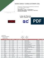 Lista de Precios IGZ Crucetas - Vig. Septiembre 2016 ( CLIENTES)