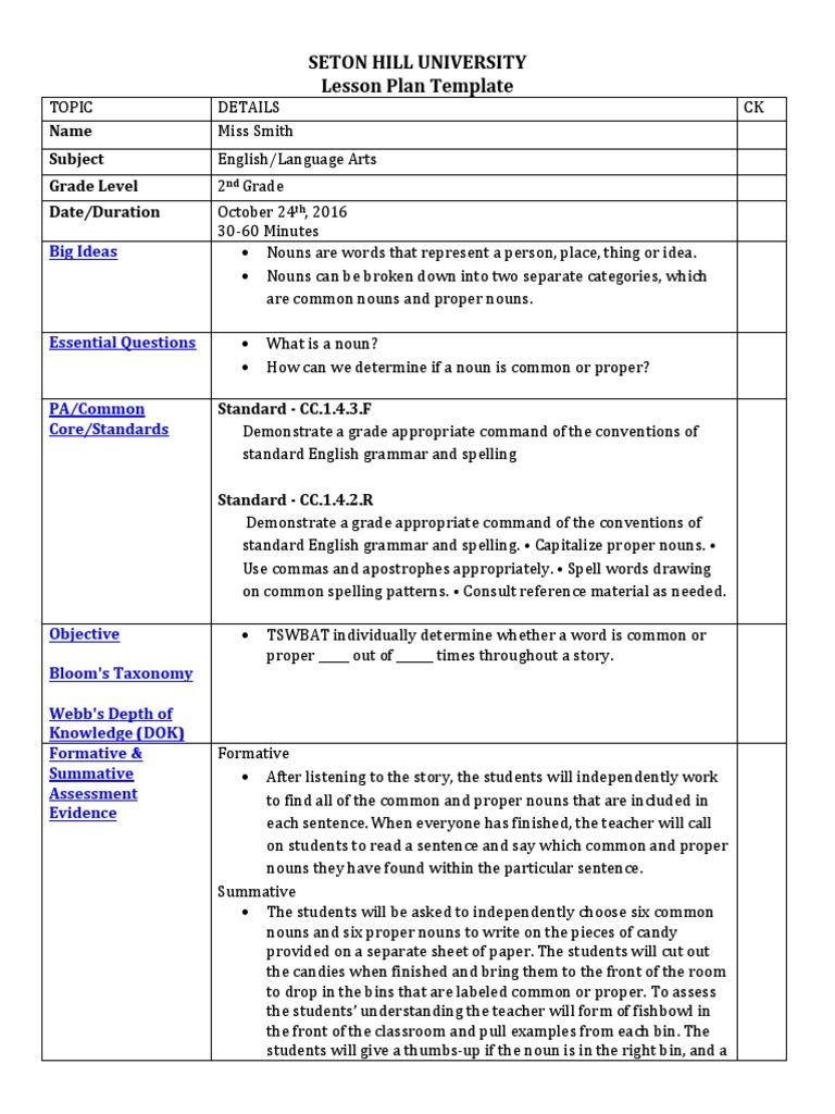 common and proper nouns lesson plan copy | Lesson Plan