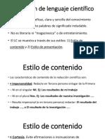 Estilo de Presentacion y de Contenido REDACCION AVANZADA