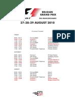 F1 Belgian Grand Prix Draft Timetable 2010
