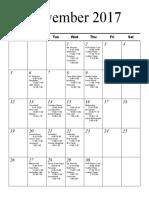 Senior Schedule - November & December