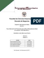 """Elaboración Del Presupuesto Para El Plan de Mercadotecnia Global en La Empresa """"El Nombre de Su Empresa""""."""