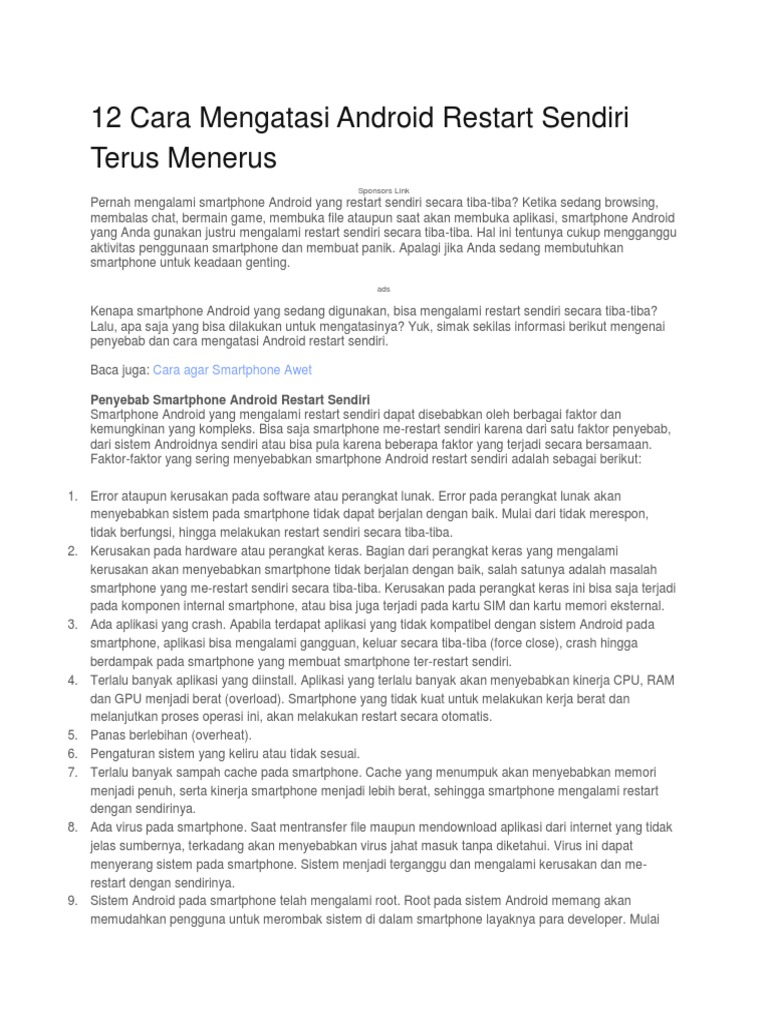 12 Cara Mengatasi Android Restart Sendiri Terus Menerus Docx