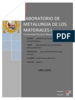 Informe de preparacion de probetas metalograficas
