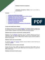 Database Production Acceptance