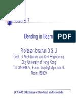 Lecture 7 - Bending in Beams