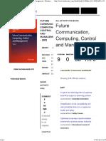 Future Communication, Computing, Control and Management – Bookmetrix Analysis