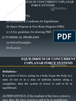 Engg Mechanics Equilibrium of Concurrent Coplanar Force