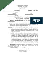 Comment or Objection Formal Offer-sample
