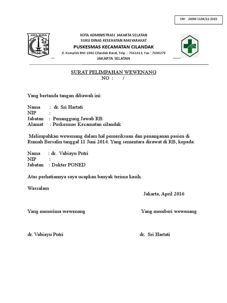 Contoh Surat Pendelegasian Wewenang Dokter Ke Perawat Id Lif Co Id