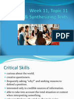 Critical & Synthesizing Texts