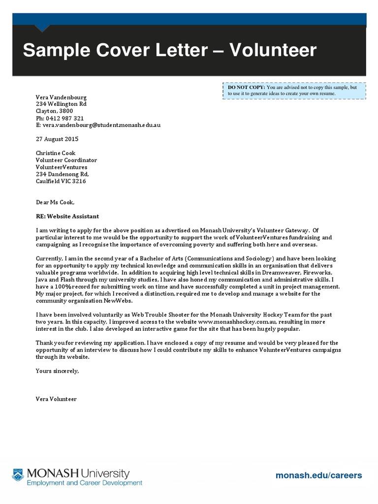 Cover Letter Sample Volunteer Coordinator - Volunteer Coordinator ...