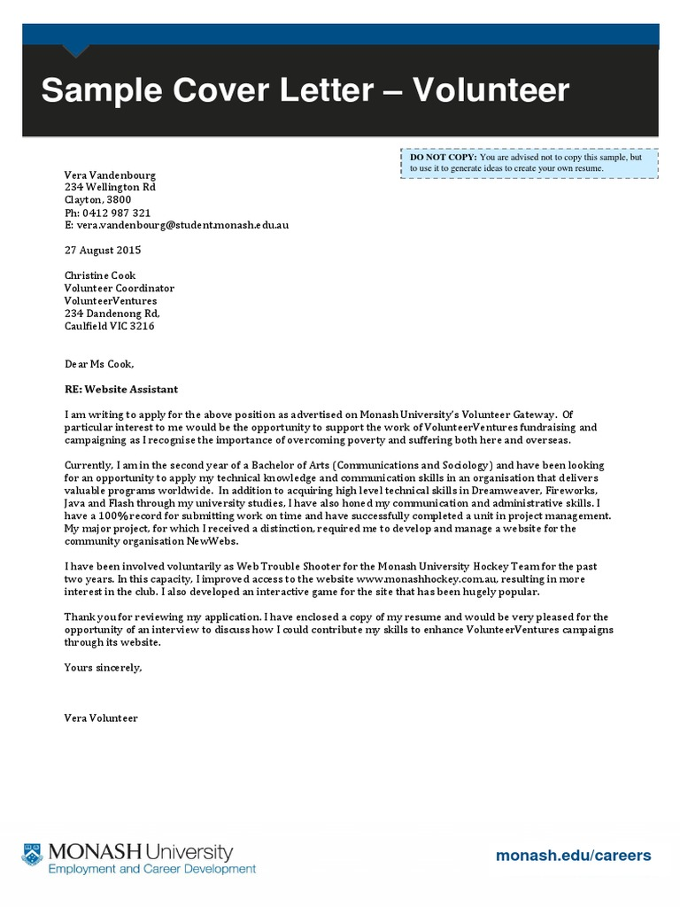 Cover Letter Sample Volunteer Coordinator