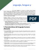 Tema 1. Lenguaje, Lengua y Habla