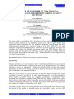 THE EFFECT OF BOARD SIZE ON FIRM FINANCIAL PERFORMANCE OF LISTED FIRMS IN NAIROBI SECURITY EXCHANGE