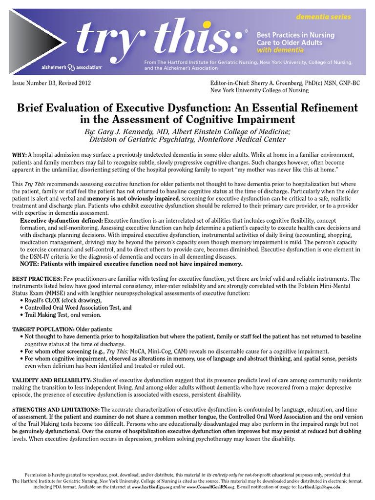 Brief Evaluation of Executive Dysfunction pdf | Dementia
