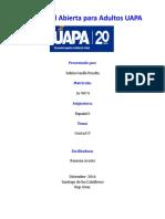 Actividades de La Unidad IV Español 1