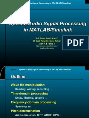 audioProcessingInMatlabSimulink   Signal Processing