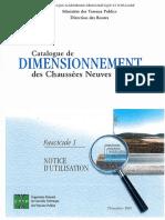 Catalogue de Dimensionnement Des Chaussées Neuves F 01