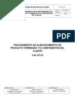 T-Ac-pt-01 Procedimiento de Almacenamiento de Producto Terminado Yo Componentes Del Cliente