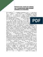 Acto de Deposito Del Pliego de Cargas, Clausulas y Condicion