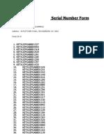 Panel Serial Numbers (4)