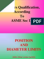 Welders Qualification According to ASME Sec IX