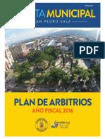 Plan de Arbitrios 2016