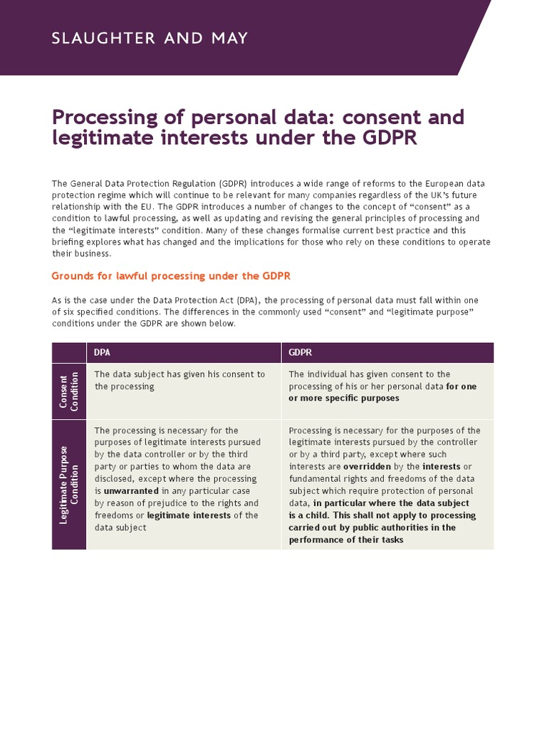 Consent to the processing of personal data