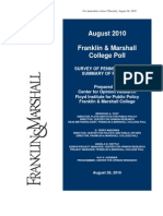 Franklin Marshall College Poll State Release Aug 2010